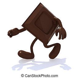 looppas, benen, armen, blok, chocolade