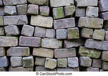 Loose brick wall horizontal background texture