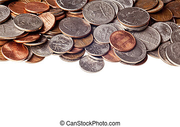 loose change - pennies, nickles, dimes, and quarters macro ...