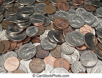 Loose Change - Photo of Quarters, Nickels, Dimes and Pennies