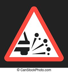 Loose chippings and gravel flat icon, Traffic and road sign,...