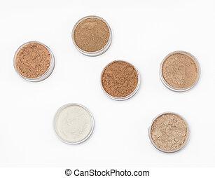 Loose cosmetic powder in jars - Jars filled with loose...