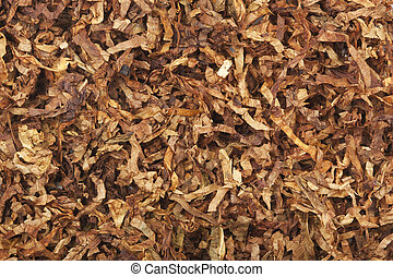 Loose cuts of dried tobacco form golden background texture