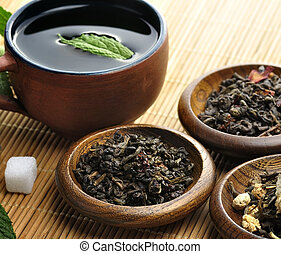Loose Green Tea - Cup Of Tea And Loose Tea Assortment