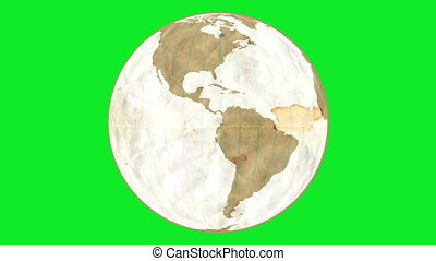 Loose Leaf Paper Globe Greenscreen - Animation of Planet...