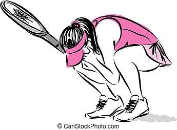 loosing, joueur, femme, tennis, illustration