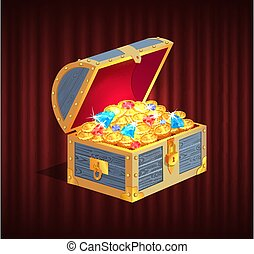 Loot Box with Gemstone, Brilliant and Coin Vector