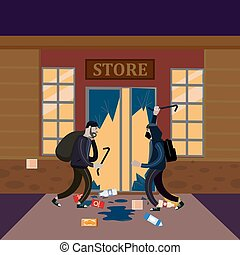 Looters with crowbar and bag make a store robbery, broken door, night. Robbers, scrap, criminal characters, crime scene. Vector illustration isolated cartoon flat style