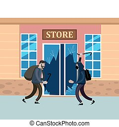 Looters with crowbar and bag make a store robbery, broken door. Robbers, scrap, criminal characters, crime scene. Vector illustration isolated cartoon flat style
