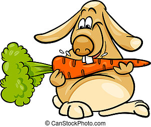 lop rabbit with carrot cartoon - Cartoon Illustration of...