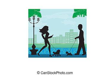 lopen de hond aan, in, een, stad park