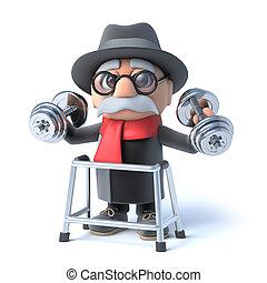 lopend met vensterraam, weights!, opa, het tilen, 3d