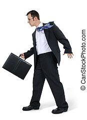 lopende aktentas, zakenmens