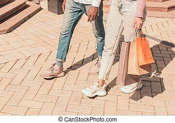 lopende mensen, foto, twee, winkel, liggen