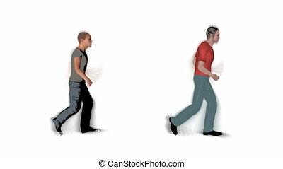 lopende mensen, lus, illustratie