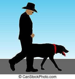 lopende met hond, man