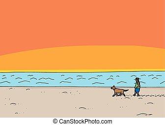 lopende met hond, op, strand, ondergaande zon