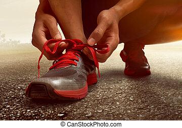 lopende schoenen, knopende, man