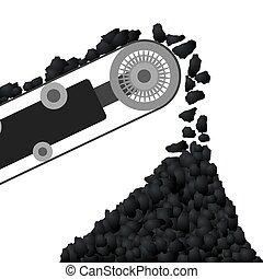 lopendeband, met, steenkool