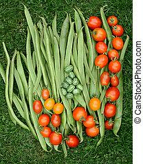 loper, cucamelons, bonen, fris, groene, tomaten