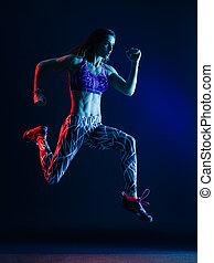 loper, jogger, vrijstaand, rennende , vrouw, jogging