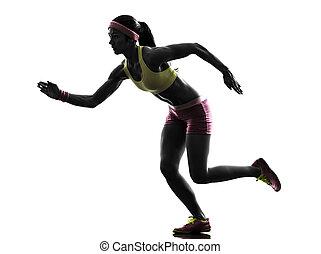 loper, rennende , vrouw, silhouette