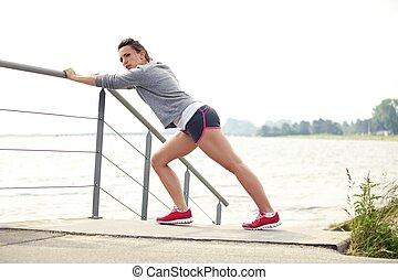 loper,  Stretching, uitvoeren, vrouwlijk, Voor