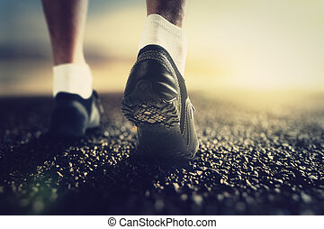 loper, voetjes, dageraad