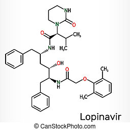 Lopinavir, C37H48N4O5, molecule. It is an antiretroviral protease inhibitor, used in with ritonavir in the therapy of human immunodeficiency virus HIV infection and acquired immunodeficiency syndrome AIDS, 2019-ncov