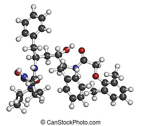Lopinavir HIV drug molecule. Protease inhibitor class antiretroviral. Atoms are represented as spheres with conventional color coding: hydrogen (white), carbon (grey), oxygen (red), nitrogen (blue).