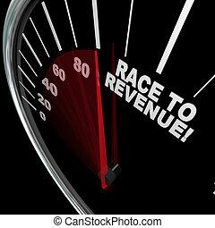 lopp, till, inkomst, resning, hastighetsmätare, nål, förtjänster