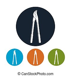 Loppers Icon, Pruning Shear Icon, Hand Pruner, Four Types of Colorful Round Icons Secateurs , Agricultural Hand Tool, Garden Equipment Icon, Vector Illustration