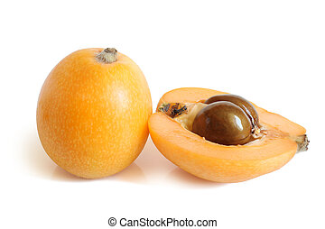 Loquat medlar on a white background