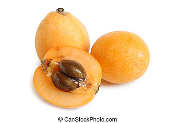 Loquat medlar on white background