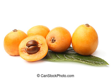 Loquat medlar with leaf