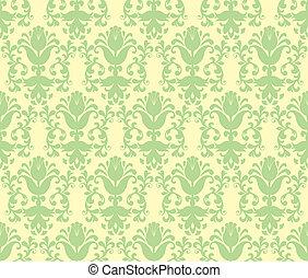 loral, floral, papier peint, feu vert