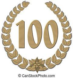lorbeer, 100, kranz, bronze