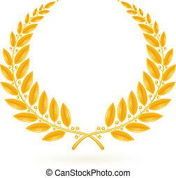 lorbeer, vektor, kranz, gold