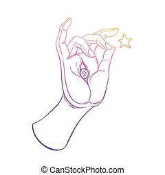Lord Buddha's hand with eye. Isolated vector illustration of Mudra. Hindu motifs. Tattoo, yoga, spirituality, textiles. Sketchy style, hand drawn. Vintage drawing.