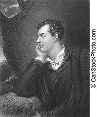 Lord Byron (1788-1824) on engraving from the 1800s. One of the greatest British poets and leading figures in the Greek war of independence against the Ottoman Empire. Engraved by H. Robinson from a painting by R. Westall, published in London by Fisher, son & Co in 1838.