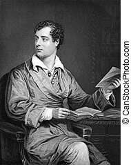Lord Byron (1788-1824) on engraving from 1873. One of the...