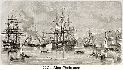 Lord Elliot arrival in Piraeus harbour, Greece. Reated by Lebreton after Roux, published on L'illustration, Journal Universel, Paris, 1863