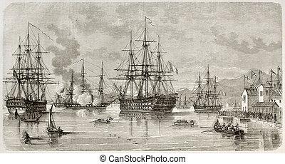 Piraeus - Lord Elliot arrival in Piraeus harbour, Greece. ...