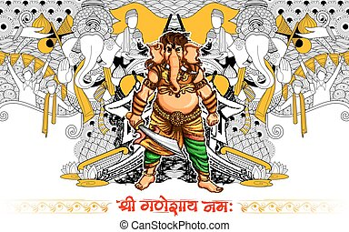 Lord Ganapati background for Ganesh Chaturthi - illustration...