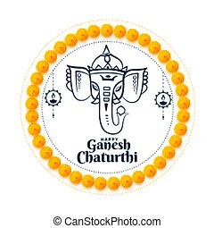 lord ganesh chaturthi indian festival wishes card design
