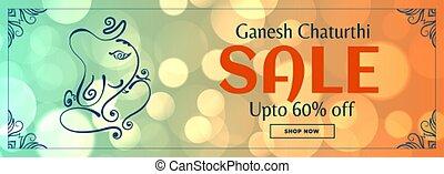 Lord ganesh chaturthi sale bokeh banner design