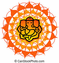 Lord Ganesh - Illustration of Lord Ganesh in floral...
