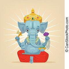 lord Ganesh elephant character. Vector flat cartoon illustration