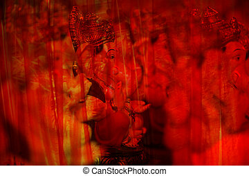 Lord Ganesh in Red Curtains