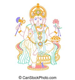 lord Ganesh linear style icon